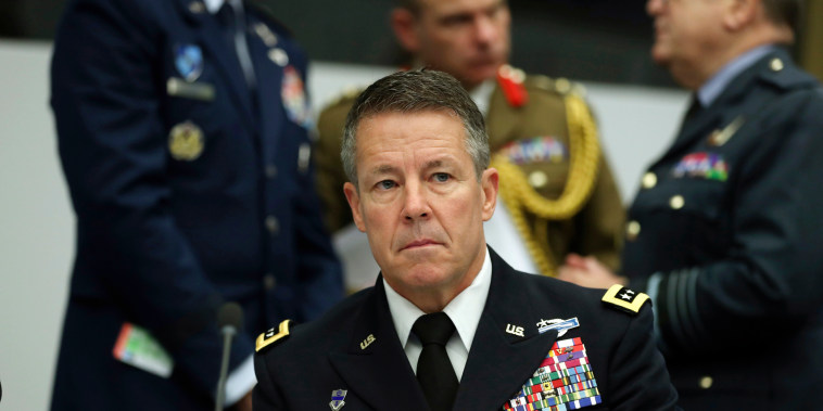 United States Army General Austin Scott Miller waits for the start a meeting of the North Atlantic Council and Resolute Support at NATO headquarters in Brussels, on Dec. 5, 2018.