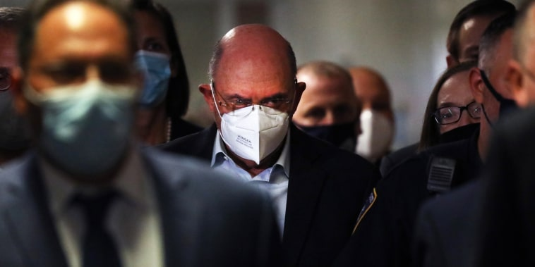 Trump Organization finance chief Allen Weisselberg leaves a New York court after surrendering to authorities on July 1, 2021.