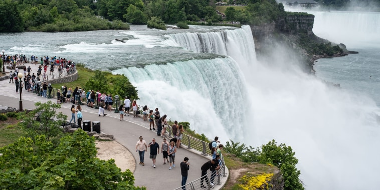 Image: Niagara Falls State Park offers a side view of the falls on June 25, 2021 as the Canadian border remained closed to the public.