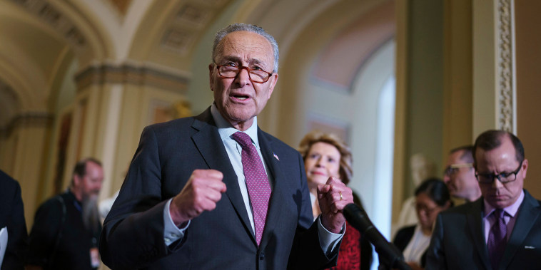 Image: Senate Majority Leader Chuck Schumer, D-N.Y., speaks to reporters at the Capitol in Washington