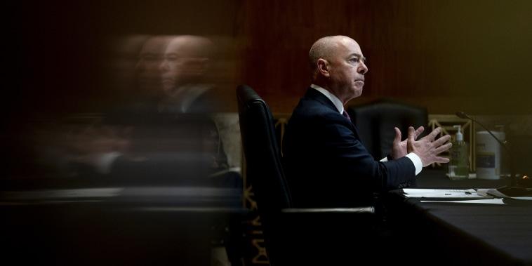 Image:; Alejandro Mayorkas during a hearing in Washington on May 26, 2021.