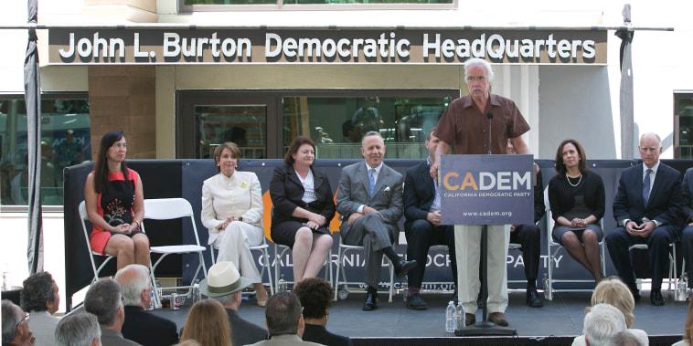 Image: Then-California Democratic Party Chairman John Burton speaks during the dedication of the John L. Burton California Democratic Party Headquarters in Sacramento, Calif.