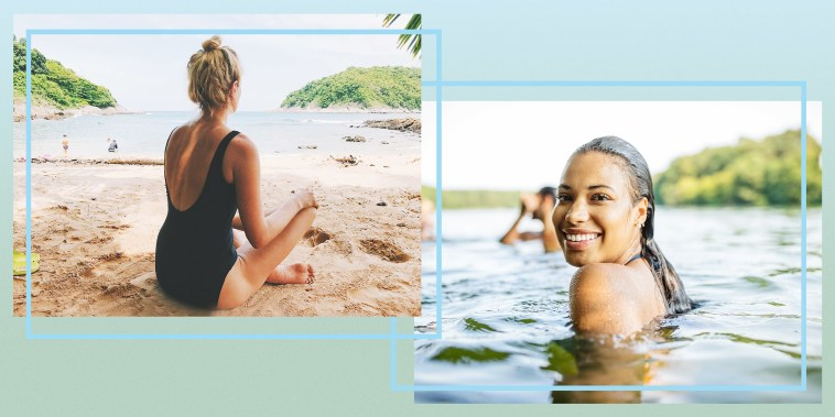 Illustration of Smiling young woman in a lake with friends swimming in the background and Woman sitting on sand on Beach