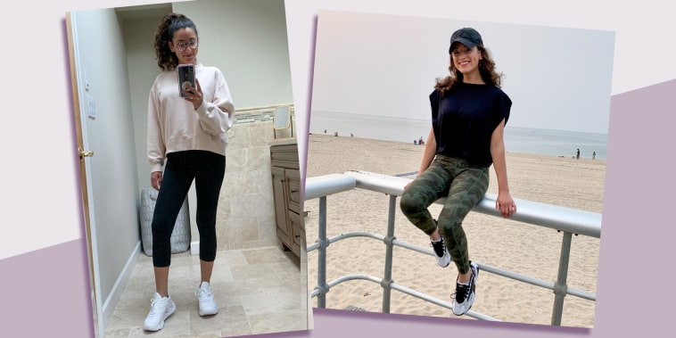 Illustration of Jill Ortiz wearing two different styles of leggings from Amazon