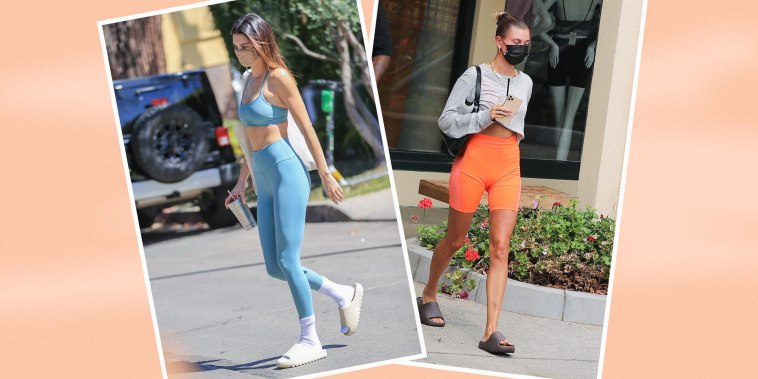 Kendall Jenner is seen on March 27, 2021 in Los Angeles, California and Hailey Bieber is seen on September 12, 2020 in Los Angeles, California