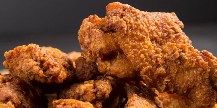 Macro photography of Delicious crispy southern fired chicken wings with copy area