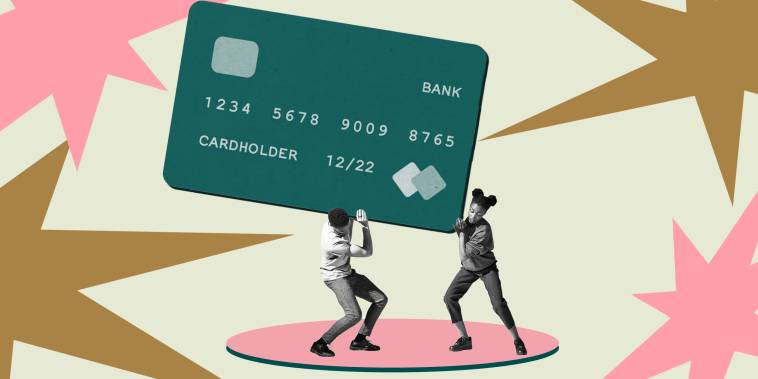 Illustration of two young people carrying a heavy credit card