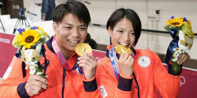 Japanese judoka Hifumi Abe, left, and his younger sister and judoka Uta Abe pose for a photo