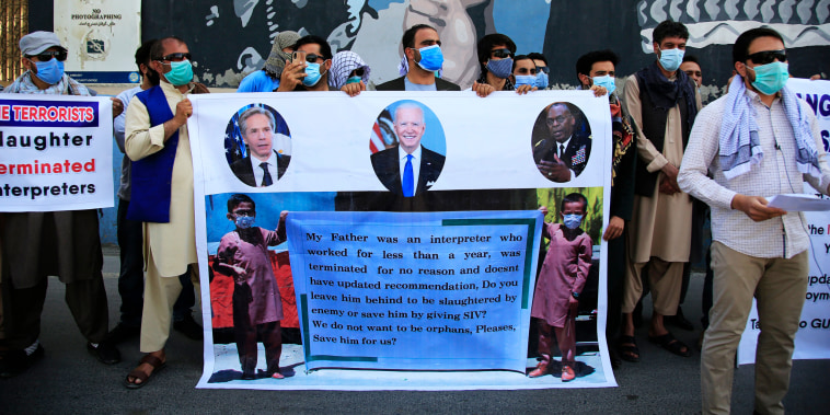 Former Afghan interpreters rally in front of the U.S. Embassy in Kabul on June 25, 2021.