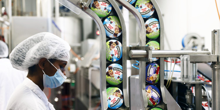 A laborer works at the Ben and Jerry's factory in Be'er Tuvia, Israel, on July 20, 2021.
