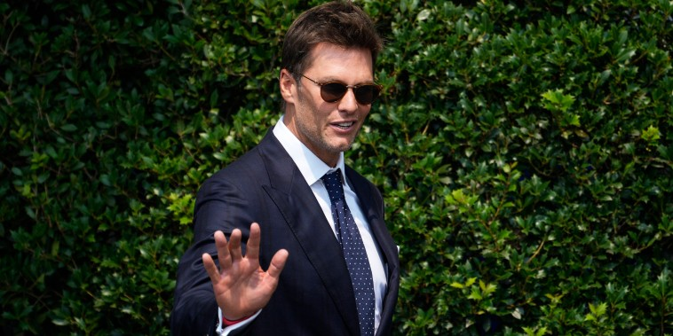 Quarterback Tom Brady arrives for a ceremony with President Joe Biden at the White House on July 20, 2021.