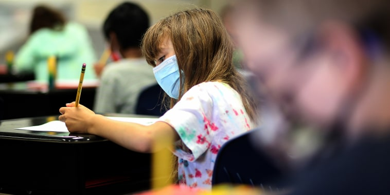 Students take part in a third grade class during a summer school session at Golden View Elementary School on June 14, 2021, in San Ramon, Calif.