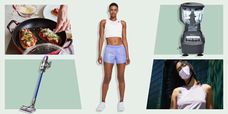 Illustration of a Woman wearing purple nike shorts, the Dyson V11 Torque Drive Cordless Vacuum, Staub Enameled Cast Iron Everything Pan, a Ninja Blender and a Woman wearing a Everlane Mask