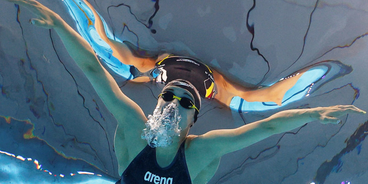 Belgium's Fanny Lecluyse competes in the Women's 100m Breaststroke at the Tokyo Games on July 25, 2021.