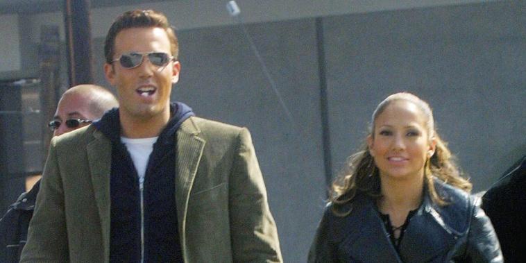 Jennifer Lopez and Ben Affleck on video set