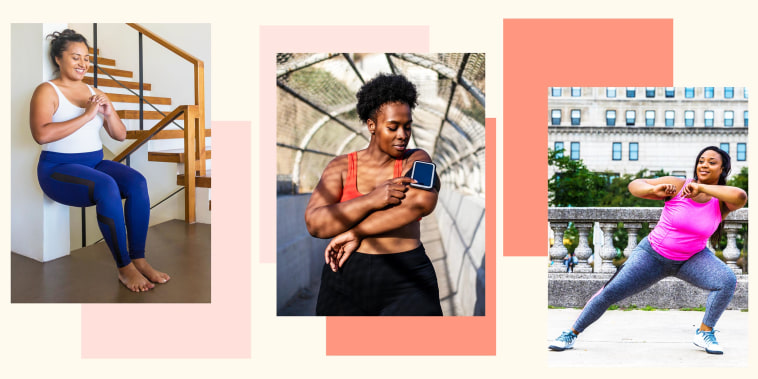 Plus size women jogging and exercising at the park and walking outdoor, a Woman using phone on armband before exercising and a Woman doing wall sit exercise in her living room