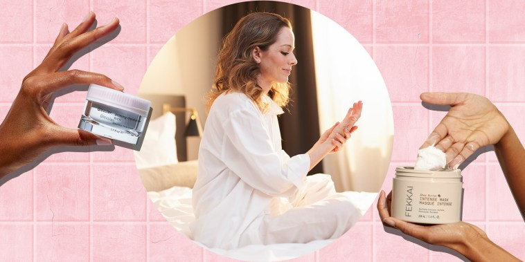 Illustration of two hands holding different types of shea butter and a Brunette woman sitting on bed applying beauty cream
