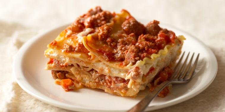 Lasagna with turkey sausage
