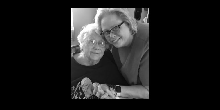 Cathie Armstrong, right, with her mother, Marion Welenz Hedrick, in July 2019 -- the last time they saw each other before Hedrick died of Covid-19 nine months later.
