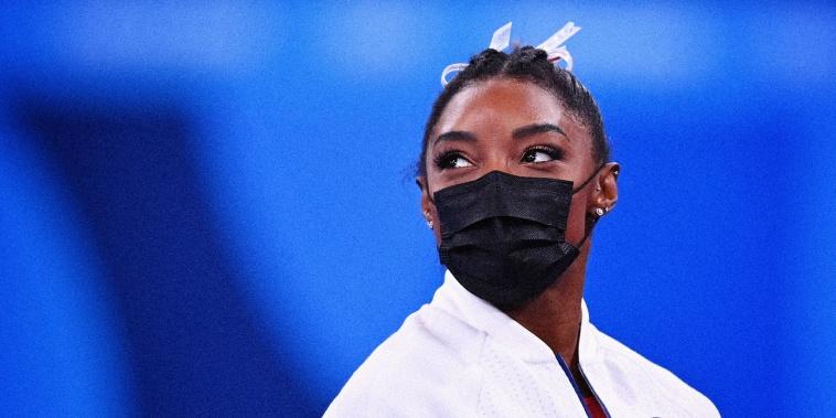 Image: Simone Biles at the Ariake Gymnastics Center in Tokyo on July 27, 2021.