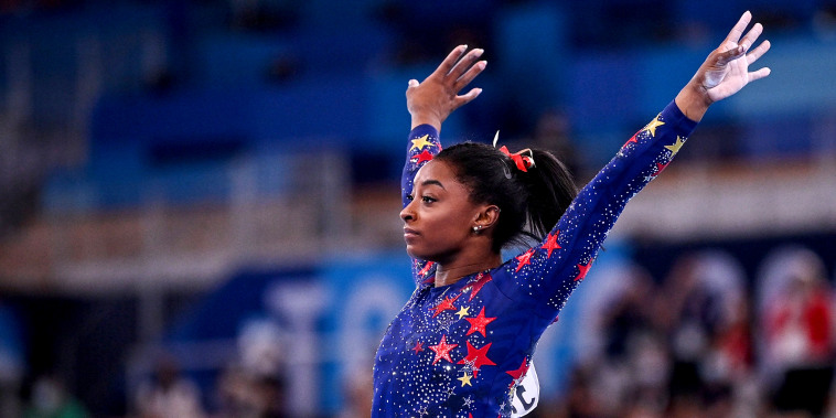Simone Biles of Team United States competes on vault during Women's Qualification on day two of the Tokyo 2020 Olympic Games at Ariake Gymnastics Centre on July 25, 2021 in Tokyo.