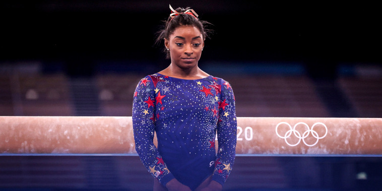 Image: Simone Biles of Team United States looks on during Women's Qualification on day two of the Tokyo Olympic Games at Ariake Gymnastics Centre on July 25, 2021 in Tokyo.