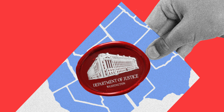 Photo illustration: A hand holding a ballot that has the state map of the United States and a red wax seal of the Department of Justice.