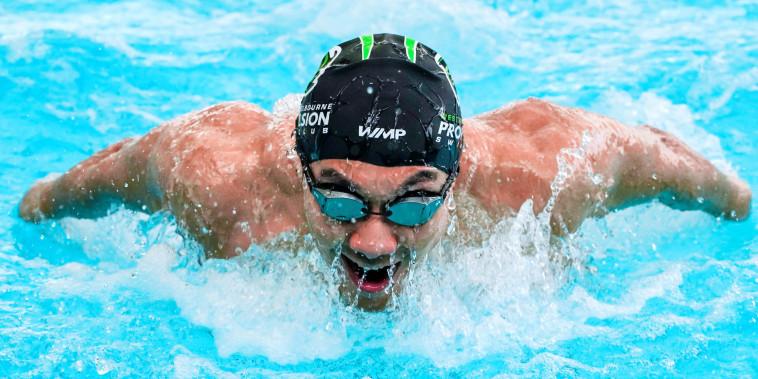 Myanmar swimmer Win Htet Oo swims in a pool in Melbourne
