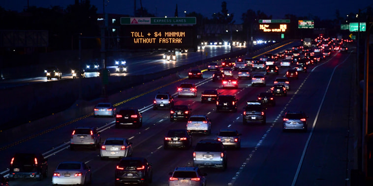 Image: Vehicles head east out of Los Angeles on the Interstate 10 freeway in Alhambra, Calif. on May 27, 2021.