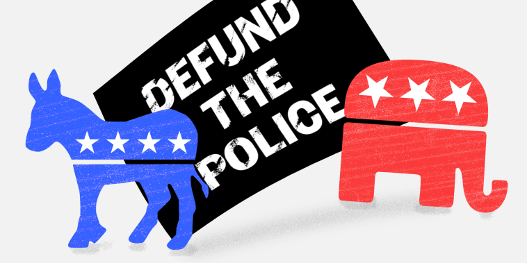 """Illustration:  The Democratic donkey and Republican party elephant face away from each other against a sign that reads,\""""Defund the police\"""" in the background."""