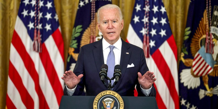 Image: President Joe Biden gestures as he delivers remarks in the East Room of the White House on July 29, 2021.s