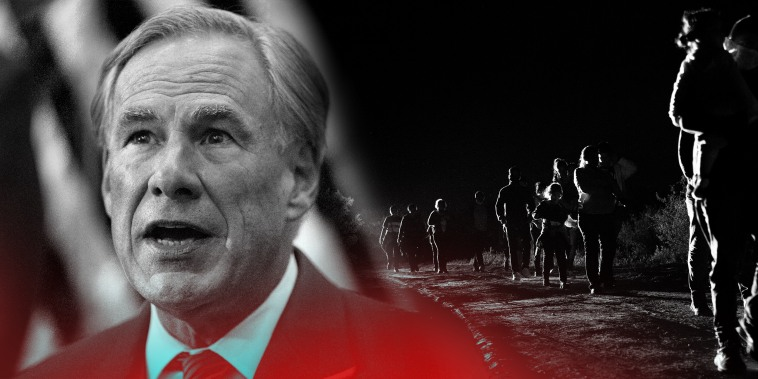 Photo illustration: Images of Greg Abbott and of immigrants seeking asylum walking to the border patrol processing facility in Roma, Texas.