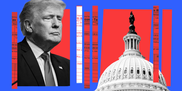 Photo illustration: Image of Donald Trump looking over the Capitol dome, along with strips that show parts of income tax forms.