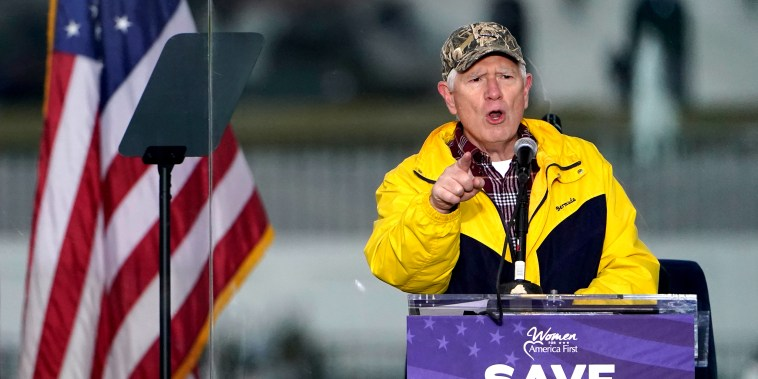 """Image: Mo Brooks speaking at the \""""Save America Rally\""""."""