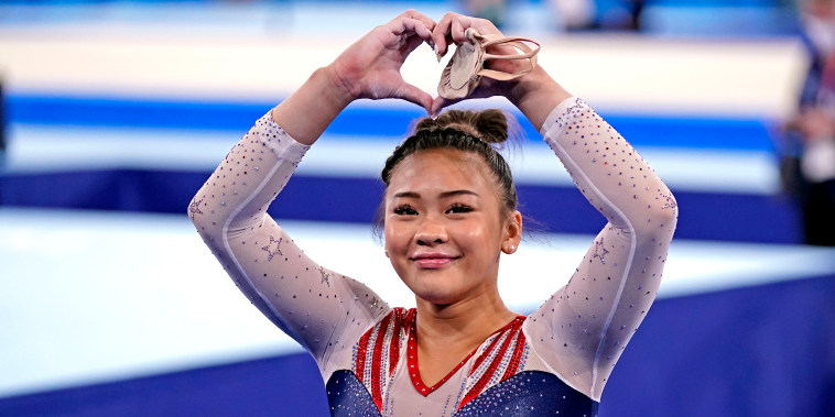 Sunisa Lee during the women's gymnastics individual all-around final during the Tokyo Olympic Summer Games at Ariake Gymnastics Centre on July 29, 2021.