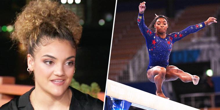 Split of Laurie Hernandez and Simone Biles on balance beam