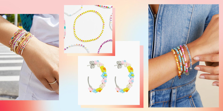Illustration of the BaubleBar San Juan Bracelet Set, Pura Vida Beaded Flower Hoop Earrings and Alex and Ani Coastal Beaded Bangle, Nautical Blue