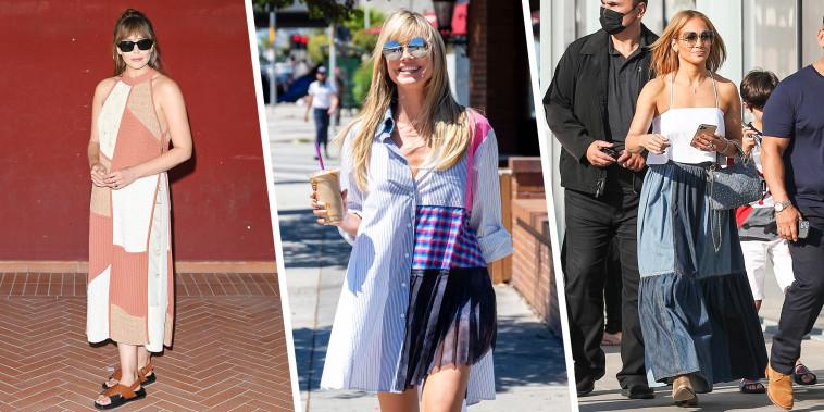 Elizabeth Olsen, Heidi Klum and Jennifer Lopez all wearing a patchwork fashion trend