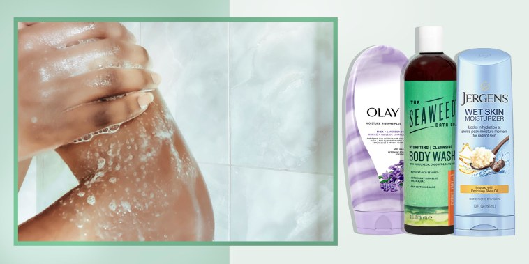 Close-up of unrecognizable woman washing upper body in shower and three different bottles of body wash