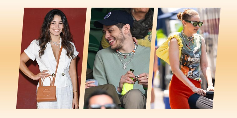 Vanessa Hudgens attends the Filming Italy Festival at Forte Village Resort on July 22, 2021, Gigi Hadid is seen in SoHo on July 06, 2021, and Phoebe Dynevor and Pete Davidson hosted by Lanson attend day 6 of the Wimbledon Tennis Championships