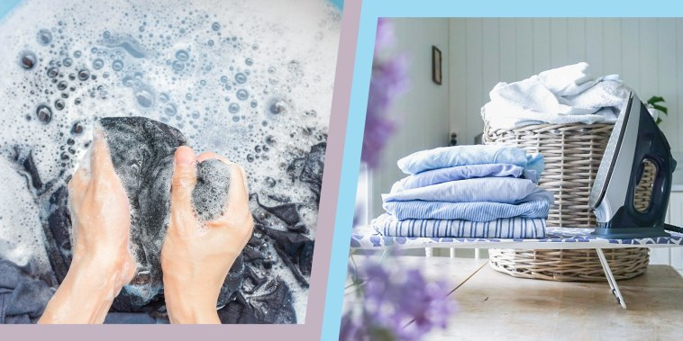 Illustration of hand washing clothes in soapy water and freshly folded laundry