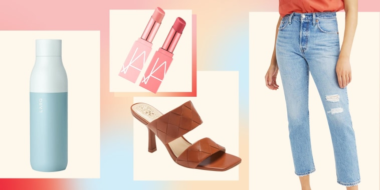 Illustration of a Woman wearing the Levi's 501(R) High Waist Straight Leg Jeans, Larq Water Bottle, Vince Camuto Candialia Sandal and NARS Afterglow Mini Lip Balm Duo