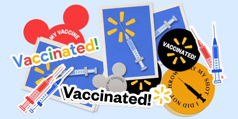 """Illustration: Stickers and enamel pins in the brand colors of Walmart, Disney, Google that read,\"""" Vaccinated!\"""", \""""I got my vaccine\"""" and \""""I did not throw away my shot.\"""""""