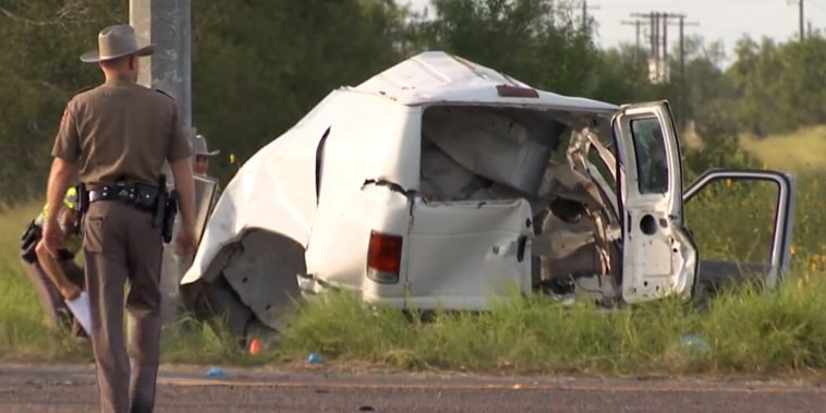 Image: Officials investigate the scene of a van accident, killing 10 in Brooks County, Texas, on Aug. 3, 2021.
