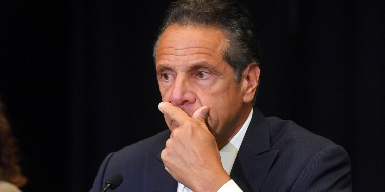 Andrew Cuomo holds a press conference at Yankee Stadium on July 26, 2021 in The Bronx, N.Y.