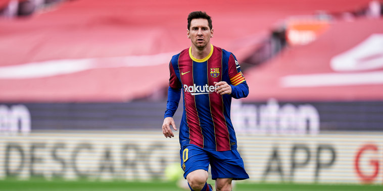 Lionel Messi of FC Barcelona during a match in Barcelona on May 16, 2021.