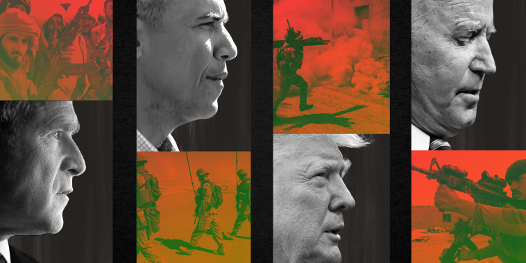 Photo collage: Images of Taliban soldiers, George W Bush, Barack Obama, soldiers in Afghanistan, Donald Trump, Joe Biden and a member of Afghan Armed Forces.