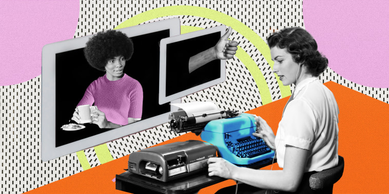 Illustration of woman working with her boss on a screen approving of her