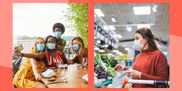 Two images of Group of young women sitting in restaurant and wearing face masks and a Woman food shoppping