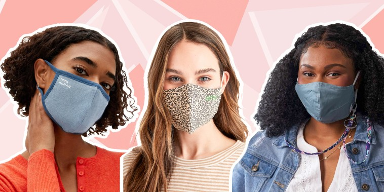 Illustration of a Woman wearing the Aerie Reusable Face Mask, Woman wearing Vera Bradley Non-Medical Cotton Face Masks and another Woman wearing the Everlane The 100% Human Face Mask